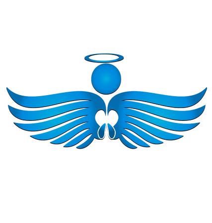 Blue angel silhouette icon illustration.
