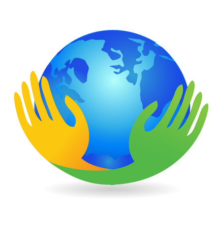 World, hands holding on, icon vector