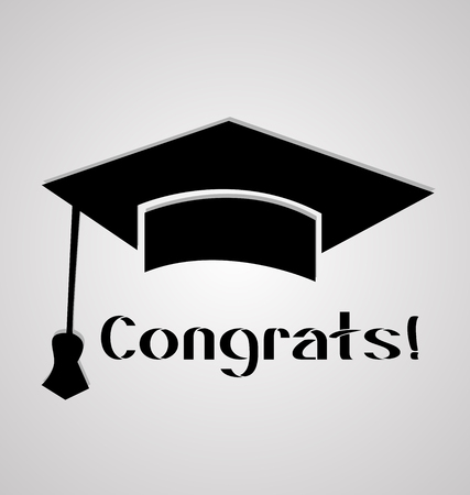Graduation cap, student congratulations, icon card vector.