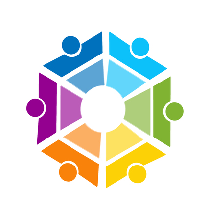 Teamwork business people representing a hexagon shape, colorful vector icon.