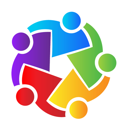 Teamwork people, hugging and coming together, colorful vector icon. Çizim