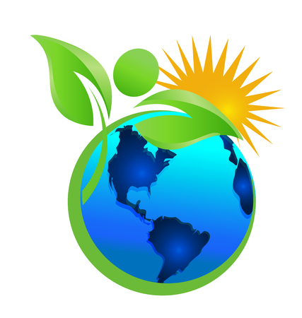 Cleaning the earth and the environment, mother nature, icon vector.