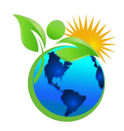 Limpieza de la tierra y el medio ambiente, la madre naturaleza, vector icono. Foto de archivo - 96303185