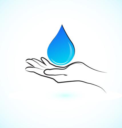 Hands protecting water concept, vector icon. Illusztráció