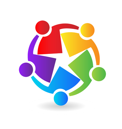 Teamwork people, working with each other to reach their goals, colorful vector icon.