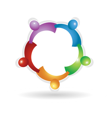 Teamwork social people, colorful vector icon.
