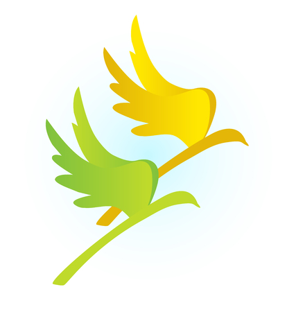Birds on a branch, abstract vector icon.