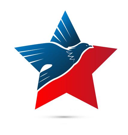 Eagle star, USA pride, vector icon. Illustration