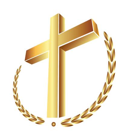 Christianity gold cross, vector icon. Stock Illustratie