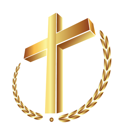 Christianity gold cross, vector icon. 向量圖像