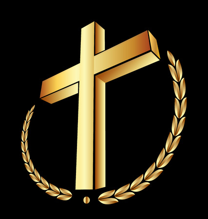 Christian 3d gold cross on black background, icon vector Illustration
