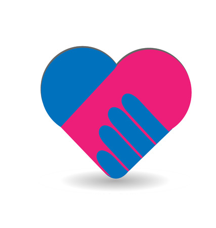 Agreement handshake formed in a heart, icon vector