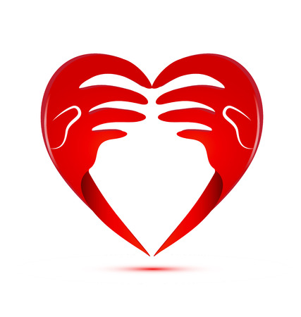 Loving hands, charity and support, abstract vector icon