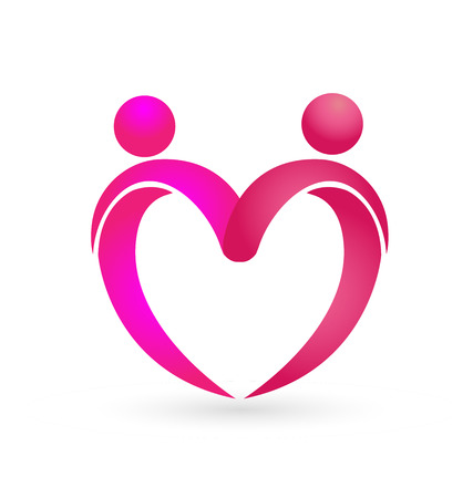 Relationship love people couple forming a heart, icon vector Stockfoto - 96105211