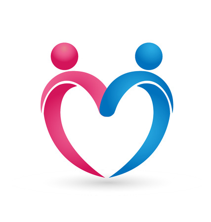 Relationship love people couple forming a heart, icon vector