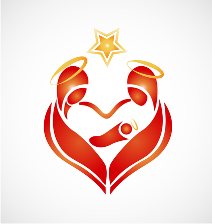 Nativity of the Lord Jesus Christ  for Christmas vector icon Illustration