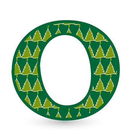 Letter O christmas festive font icon vector Ilustração