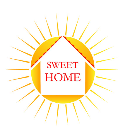 Home sweet home, sun background, icon vector Stock Illustratie