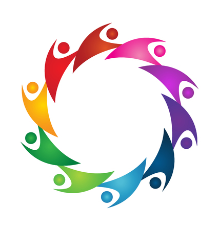 Teamwork colorful people working together icon vector