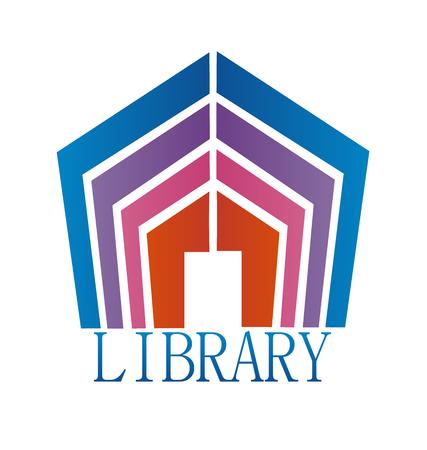 Library book house, icon vector symbol. Illusztráció