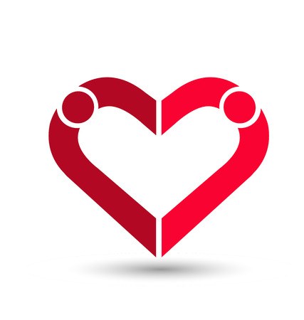Couple creating a heart, loving and caring, icon vector.