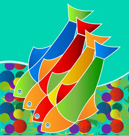 Pesci d'acqua dolce colorati, vita in mare, icona vettoriale.