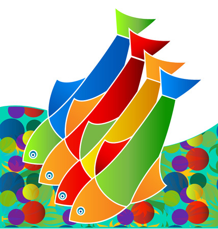 Colorful freshwater fish, life in the sea, icon vector.