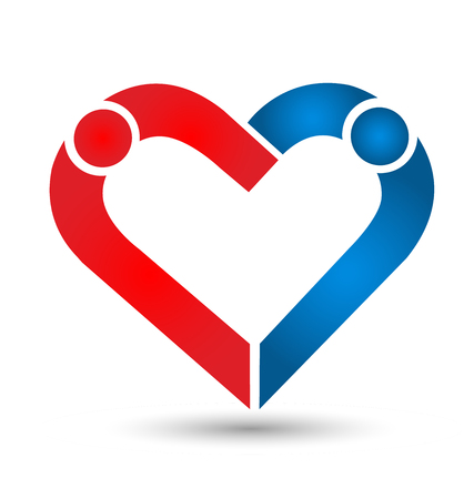 People friendship, caring heart shape, icon Vector illustration. Illustration