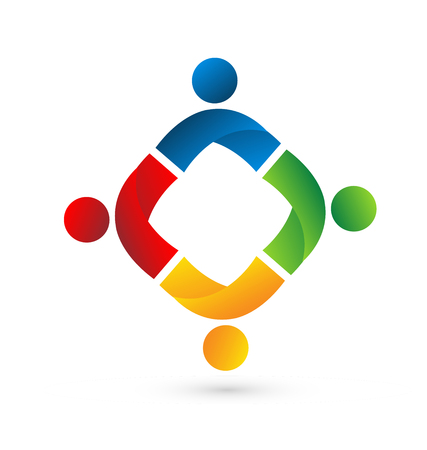 abstract Teamwork people, united and holding hands, icon Vector illustration.