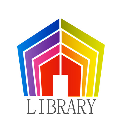 Library colorful book house, icon vector symbol