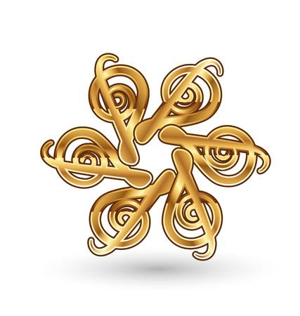 Gold musical notes, icon vector symbol Vectores