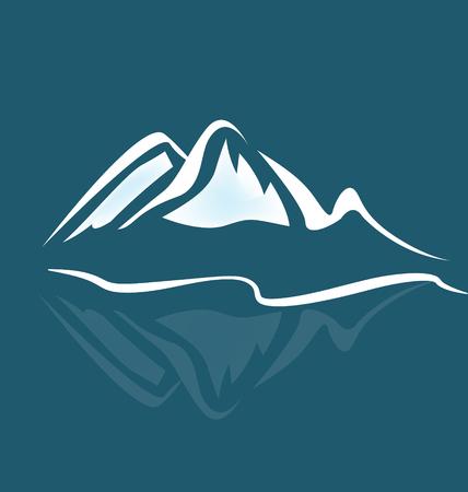 Mountain climbing landscape background, icon vector Ilustração