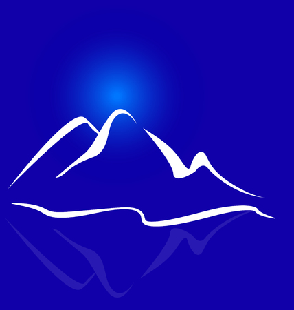Mountain blue landscape background Vector illustration.