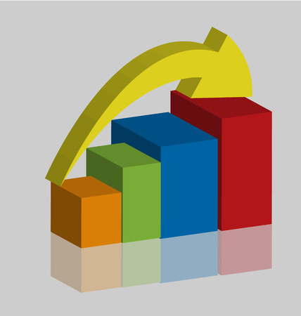 Business rising progress graph bar Vector illustration.
