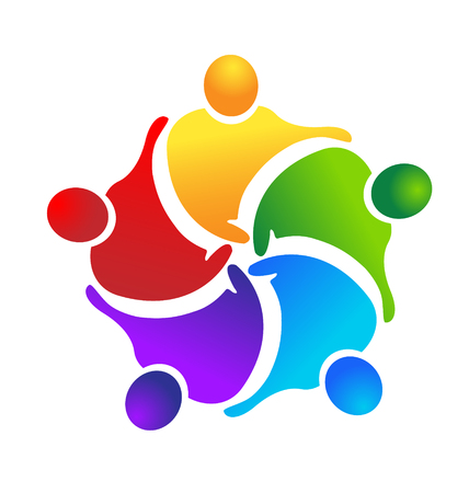 Teamwork people working together, icon vector