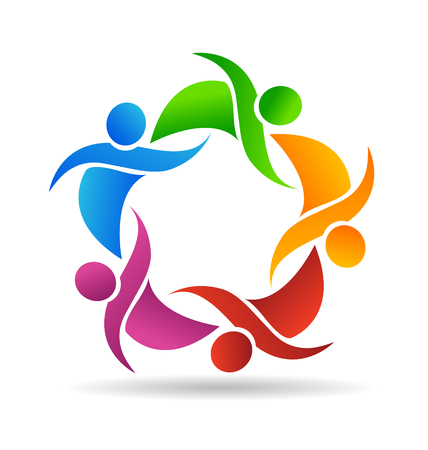 Teamwork people helping one another, icon vector Çizim