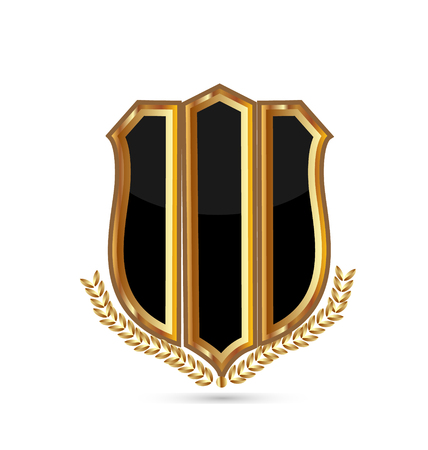 Gold emblem shield on white background, icon vector