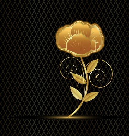 Beautiful gold flower rose on black background