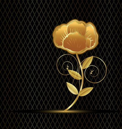 Beautiful gold flower rose on black background