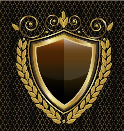 Gold shield emblem vintage, icon vector design Illustration
