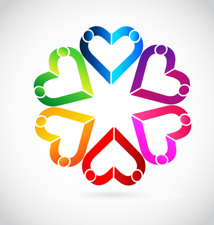 Colorful abstract hearts in a team formation, icon Vector illustration. Illustration