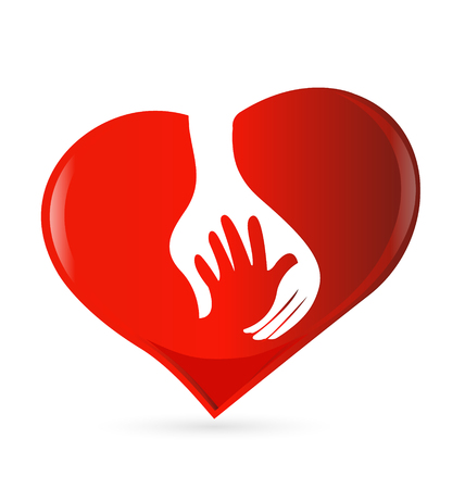 Abstract red heart with a protecting hand Vector illustration.