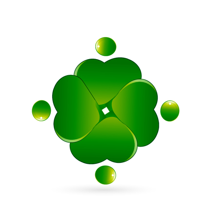 St.Patrick four leaf clover, people teamwork Vector illustration. Illustration
