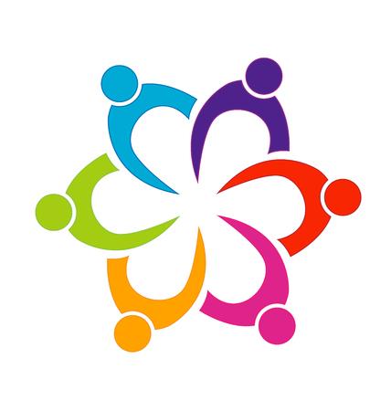 Teamwork people united logo Vector illustration. Vectores