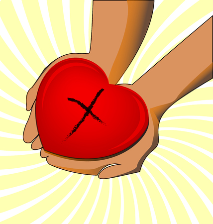 Giving love. Hands holding heart icon Vector illustration.
