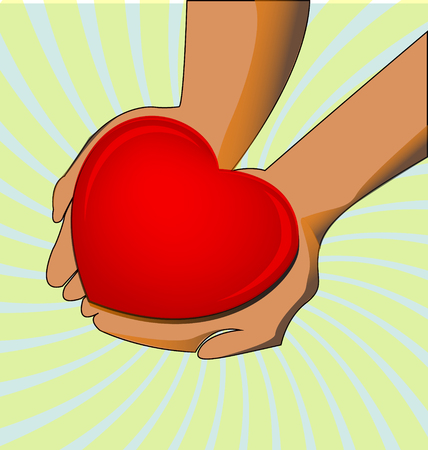 Giving love. Hands holding heart icon