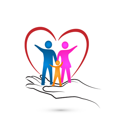 Loving family inside heart and caring hand
