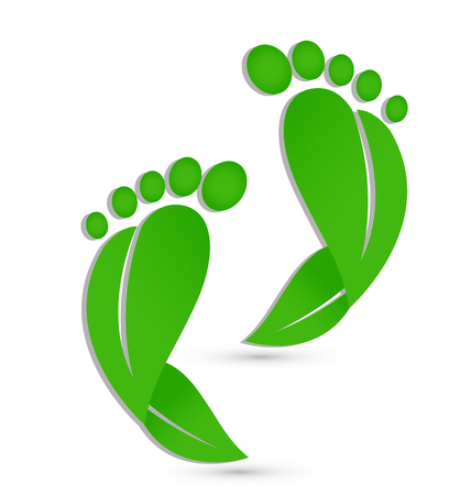 Green footprints icon
