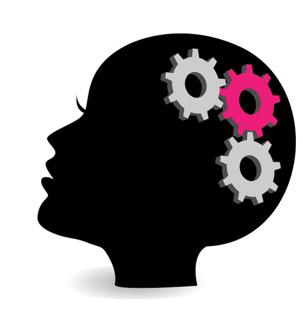 Woman head with gears and cogs Illustration