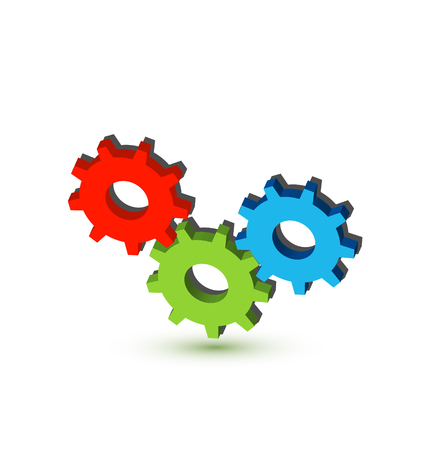Multi colored gears icon Foto de archivo - 96829791